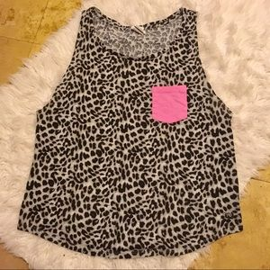 Pink Vs Leopard print tank top